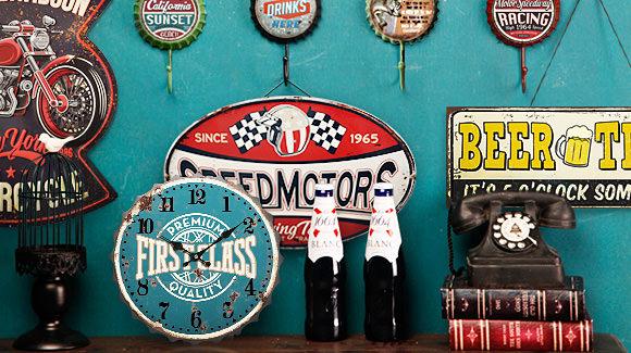 Retro Revived, Retro Tin Bottole Cap Wall Clocks, Tin Wall Plaques
