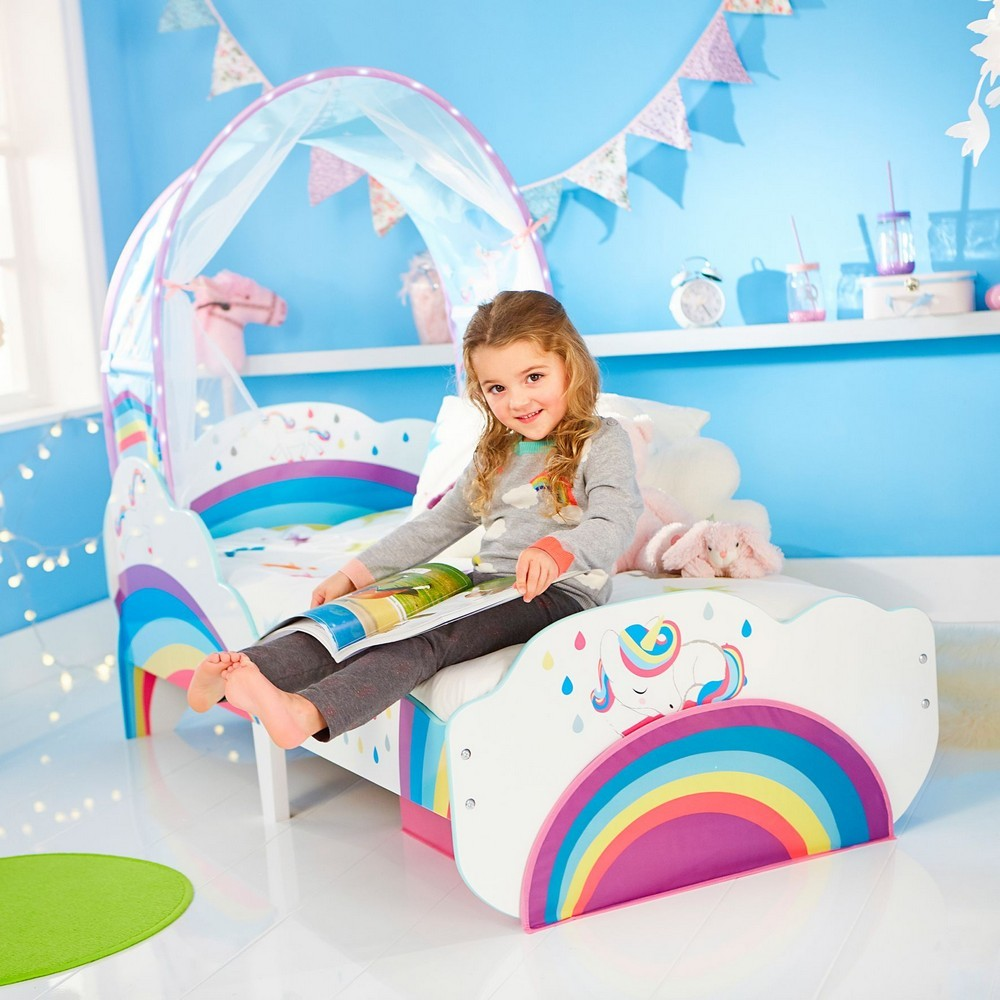 Rainbow Unicorn Toddler Bed with Canopy | Stay At Home Mum