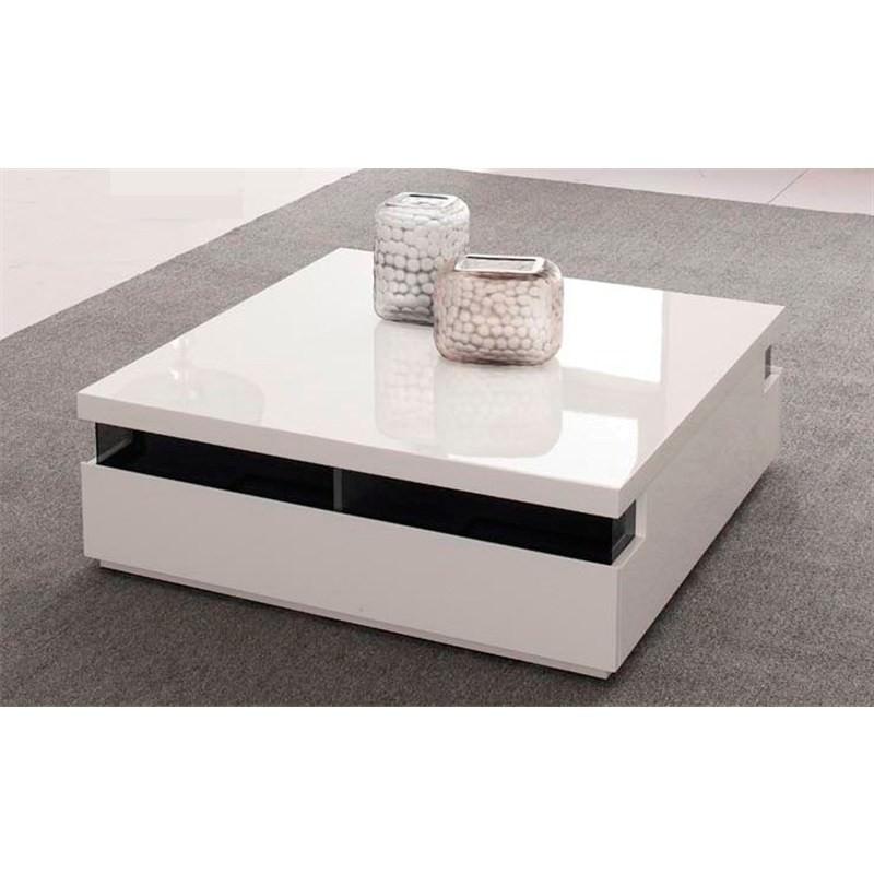 White High Gloss Coffee Table 85 Cm: Islander High Gloss White Coffee Table