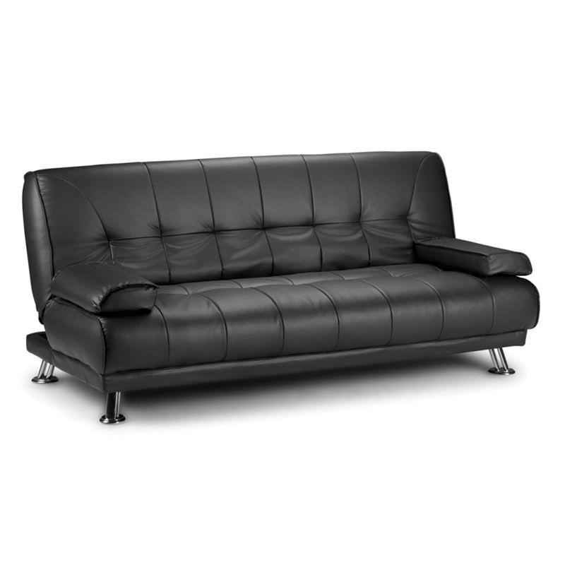 Granello Faux Leather 3 Seater Futon Sofa Bed - Black
