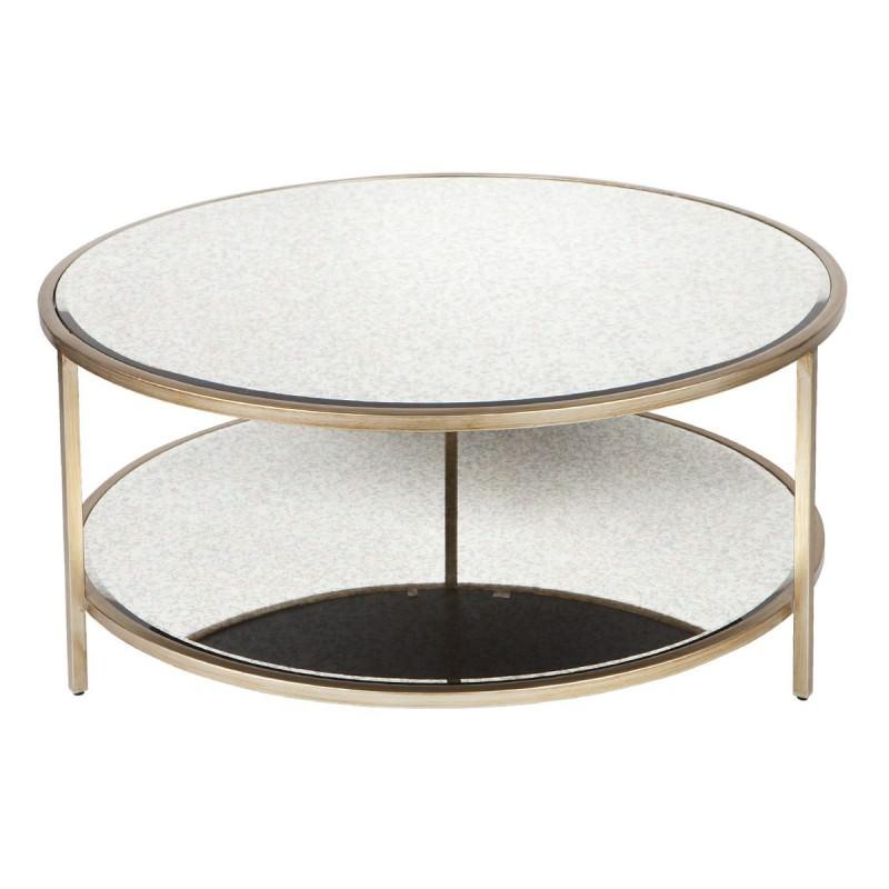 Cocktail Antique Mirror Top Iron Round Coffee Table, 100cm
