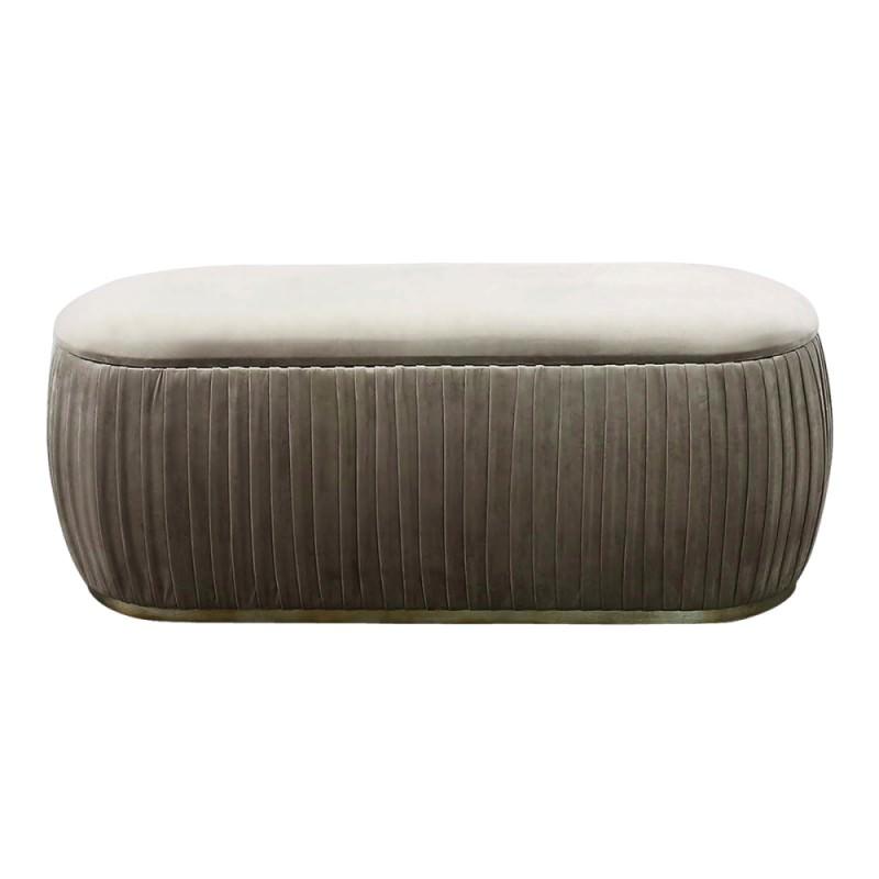 Awesome Capsule Velvet Fabric Storage Ottoman Taupe Creativecarmelina Interior Chair Design Creativecarmelinacom