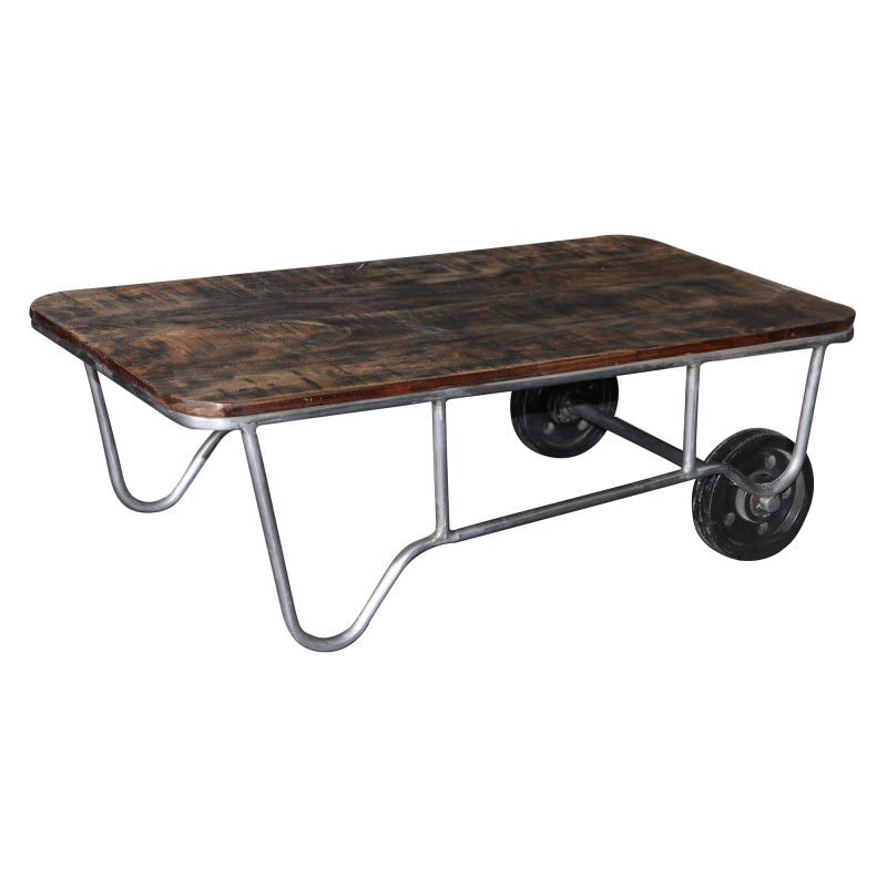 Trolley Coffee Table.Dubbo Hardwood Timber Metal Trolley Coffee Table 110cm