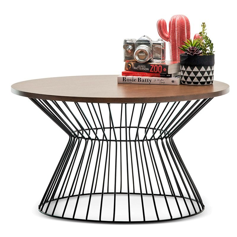 Wire Frame Coffee Table.Fabiano Wooden Top Metal Wireframe 80cm Round Coffee Table Walnut Black