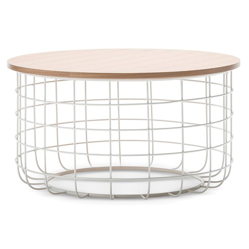Wire Frame Coffee Table.Gabriela Wooden Top Metal Wireframe 80cm Round Coffee Table Light Oak White