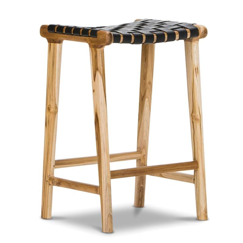 Admirable Lazie Woven Leather Teak Counter Stool Black Creativecarmelina Interior Chair Design Creativecarmelinacom