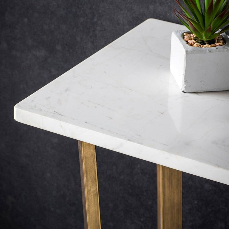 Earl Marble Top Console Table 110cm White Brass