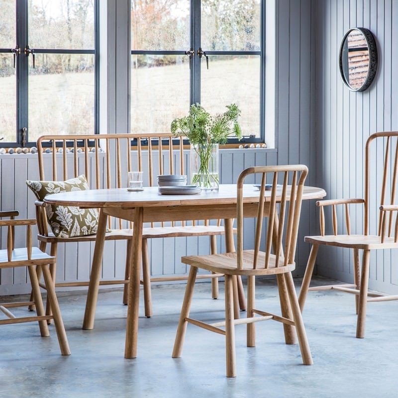 Outstanding Transitional Dining Room Suitable For Any Home: Wycombe Oak Timber Round Extenstion Dining Table (Table