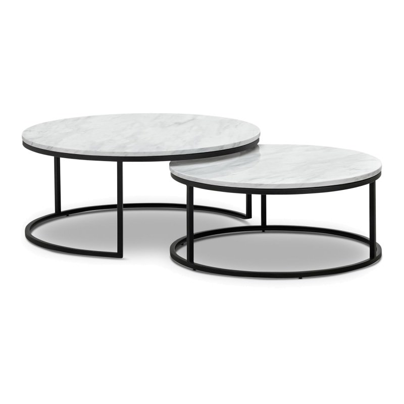 Khloe 2 Piece Cultured Marble Stainless Steel Round Nesting Coffee Table Set 95cm