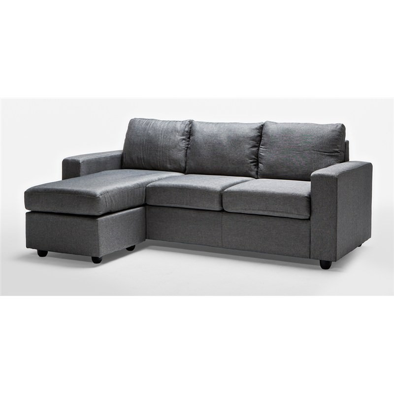 Ella 3 Seater Sofa Lounge With Reversible Chaise In Grey
