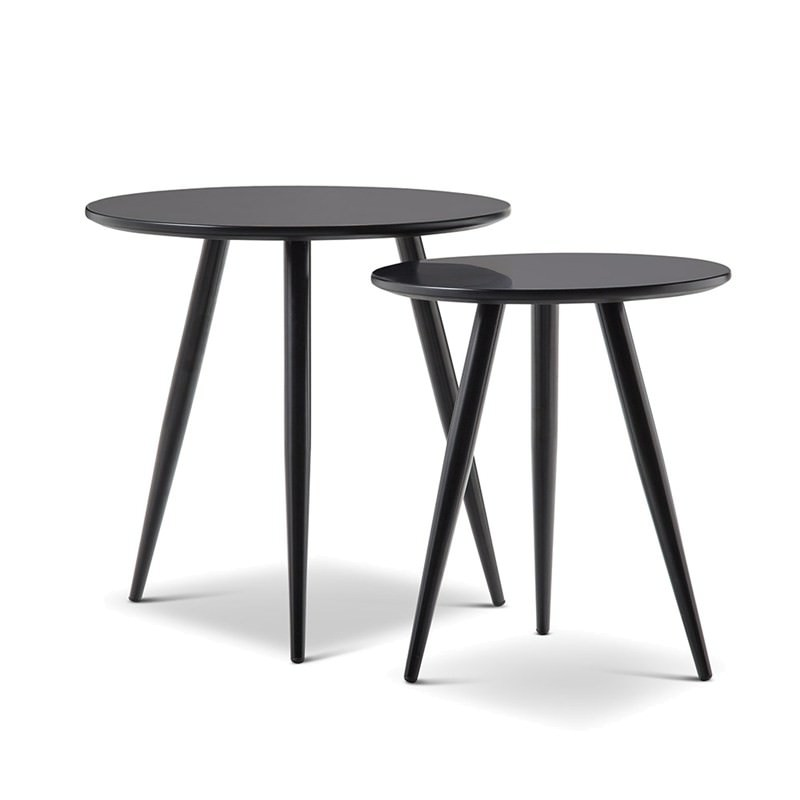 Zetta 2 Piece Round Side Table Set Black