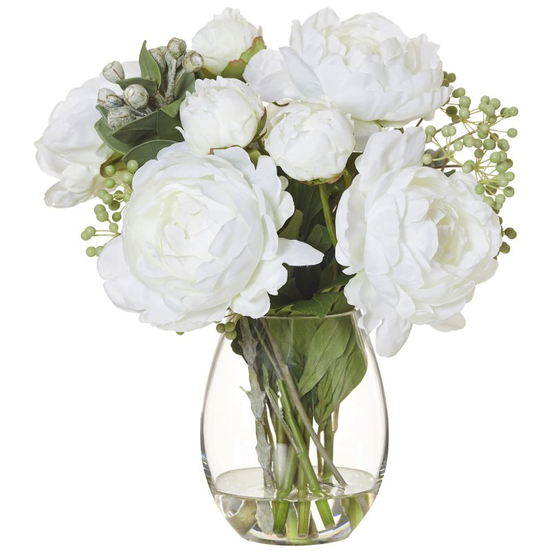 225 & Artificial Peony Mix I in Claire Vase White Flower
