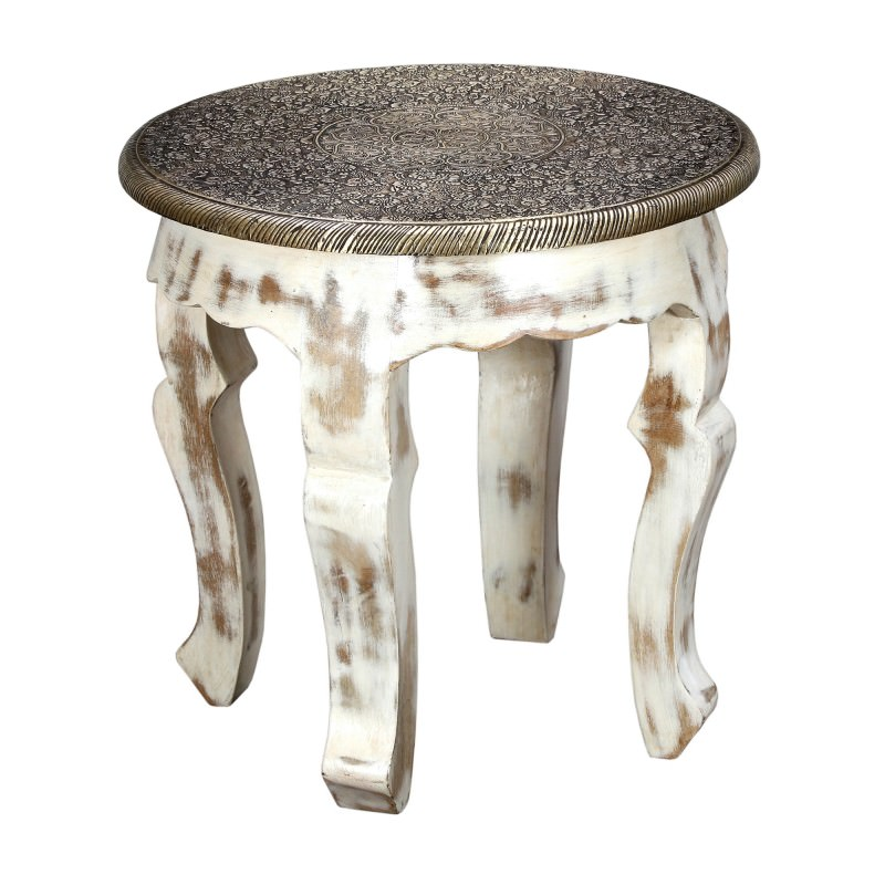 Rivita Embossed Metal Amp Timber Round Accent Stool Side Table