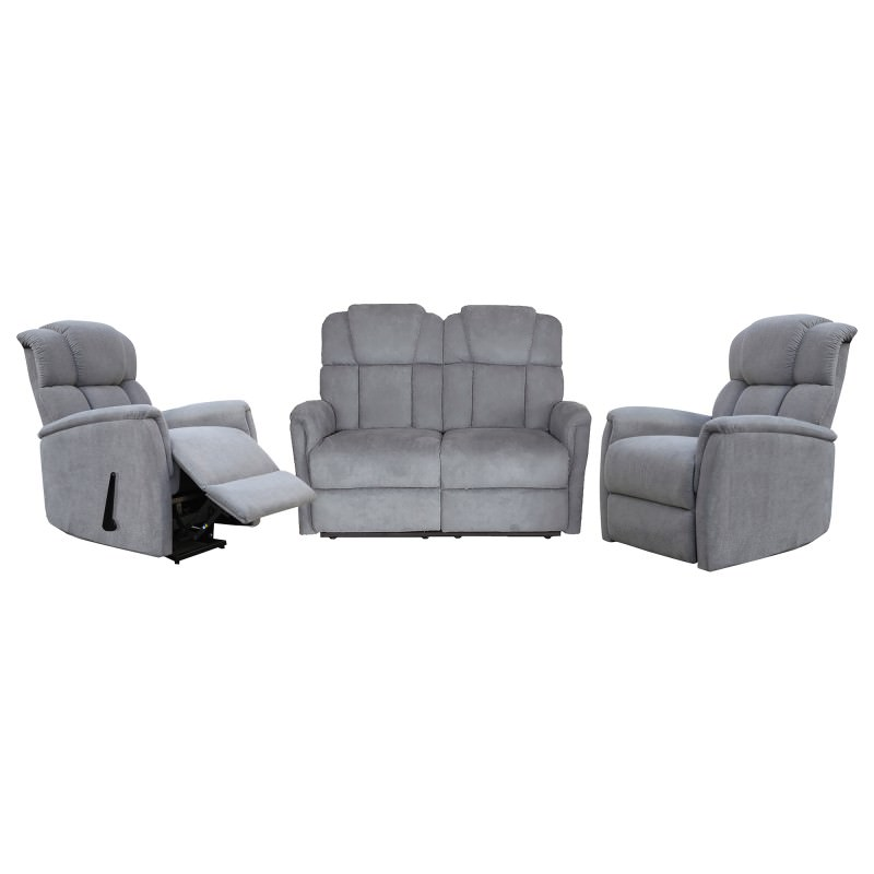 Boeing 2 1 1 Seater Linen Fabric Recliner Sofa Set Storm