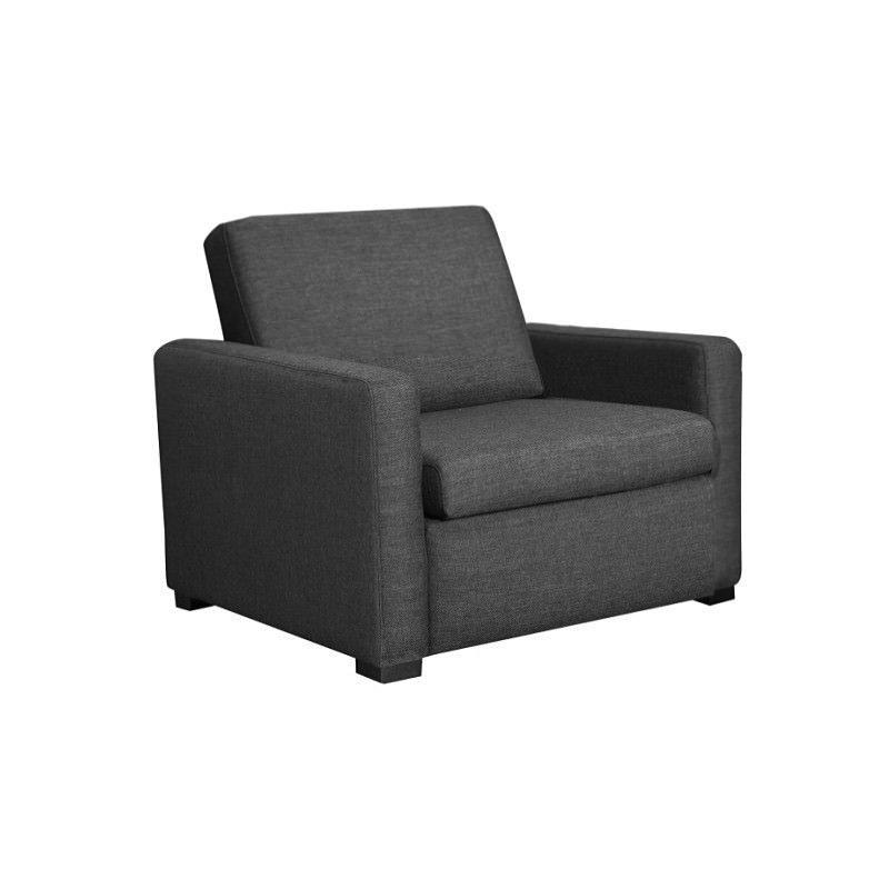 Earvin Linen Fabric Pull Out Sofa Bed Single Charcoal