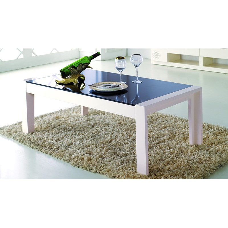 Coffee Table And Entertainment Unit Set: High Gloss Creamy TV Unit And Coffee Table Set