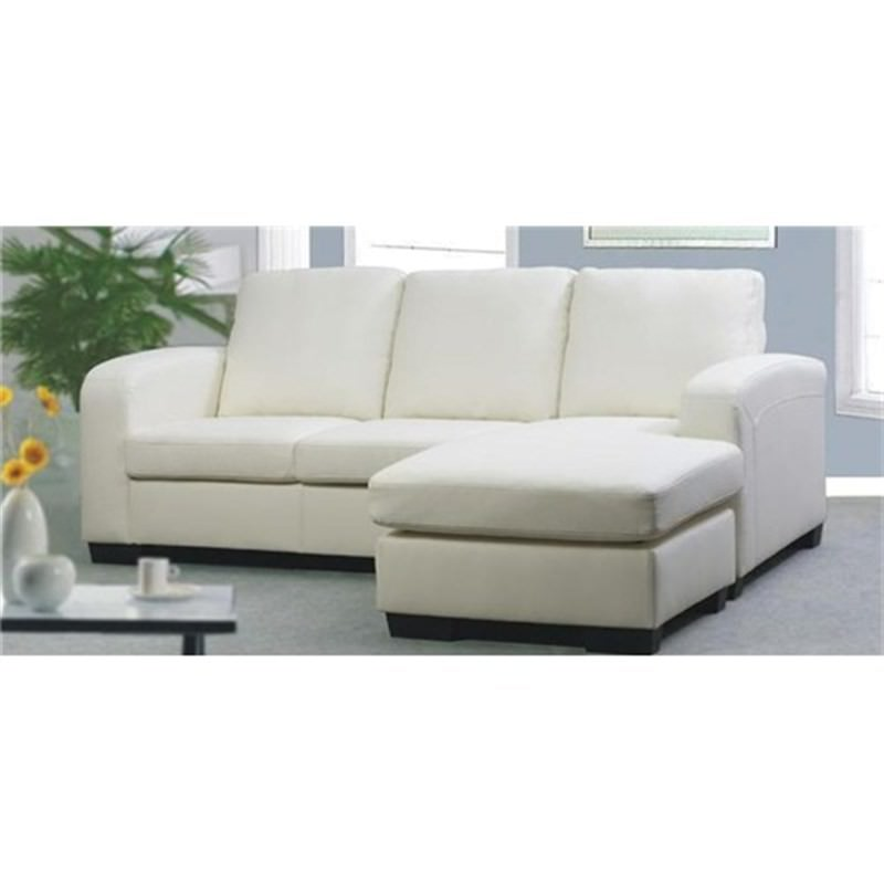 White Eden Leather 3 Seater Sofa Lounge Couch - Chaise
