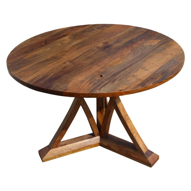 Merle Mango Wood Round Dining Table 120cm Natural
