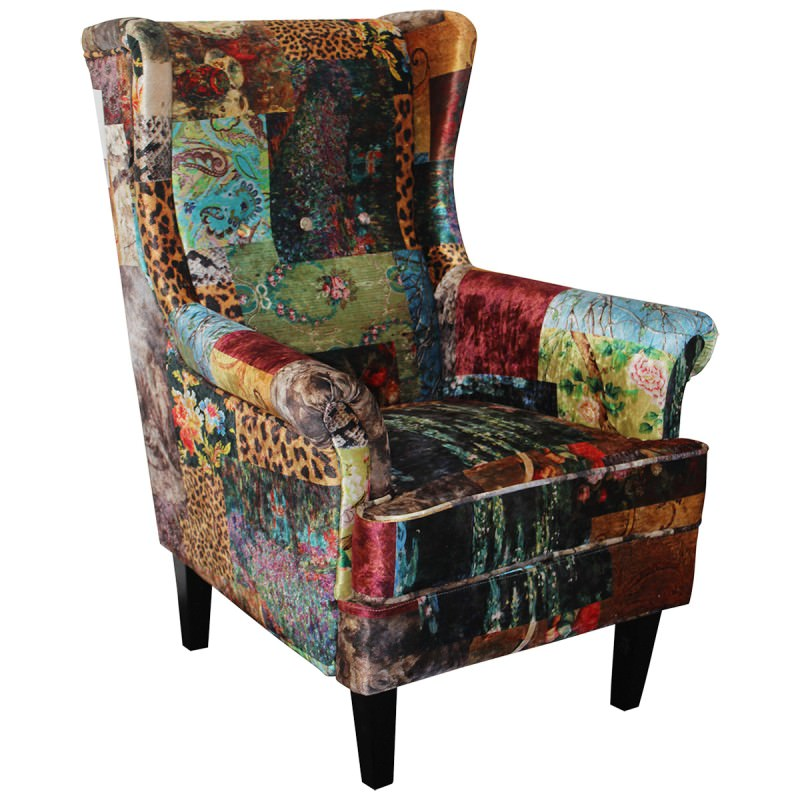 Austin Fabric Wingback Armchair, Patchwork