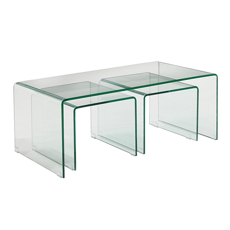 Arcadia 3 Piece Bent Glass Nested Coffee Table Set