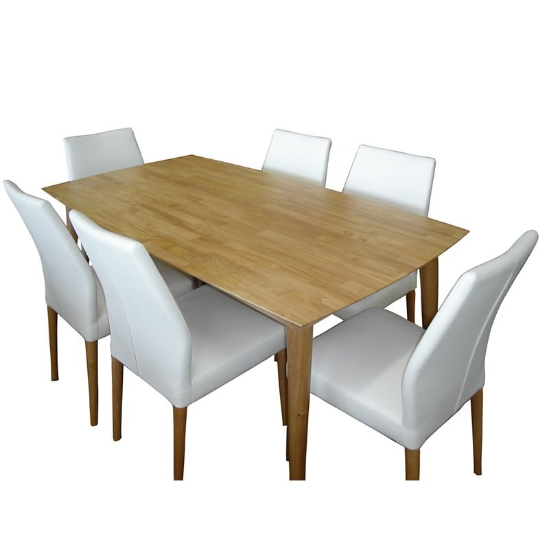 Archibald 7 Piece White Dining Set: Contempo 7 Piece Solid Timber Dining Set