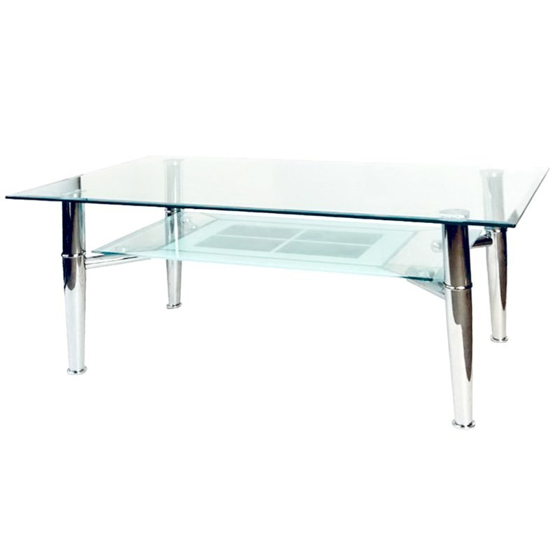 Glass And Metal Coffee Table With Shelf: Barcelona Glass And Metal 110cm Coffee Table With Shelf