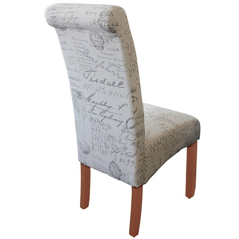 Averil Fabric Upholstered Dining Chair Paris Script Chestnut