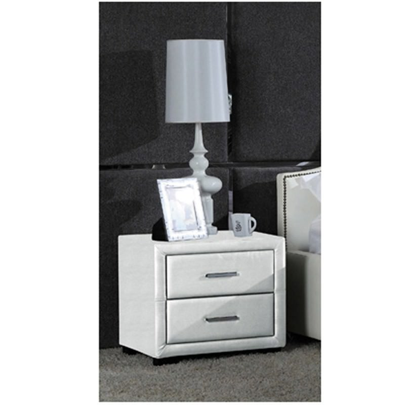 Blanco Bonded Leather 2 Drawer Bedside Table White