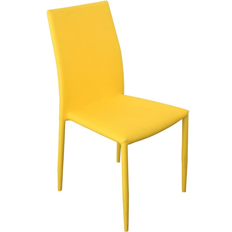 Sykes Fabric Upholstered Steel Dining Chair - Yellow