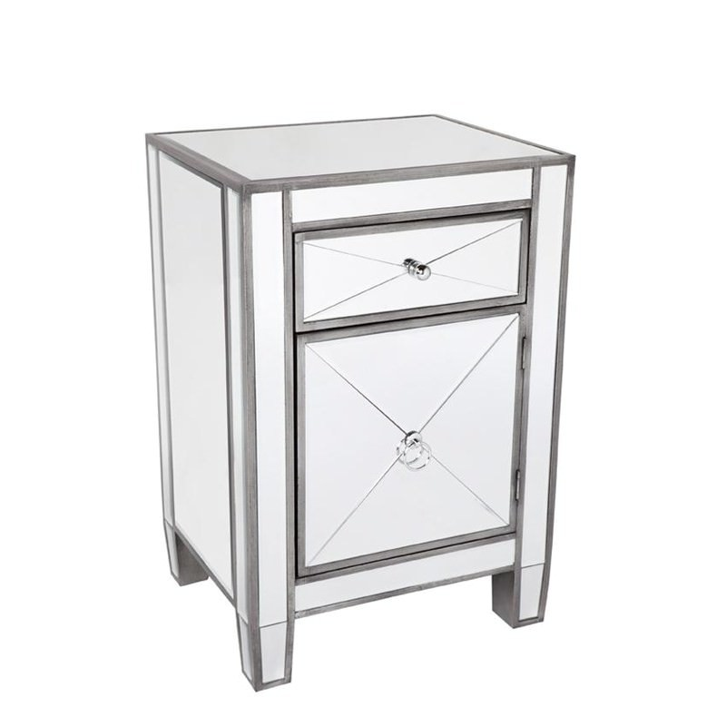 Apolo Mirrored Glass Bedside Table Antique Silver