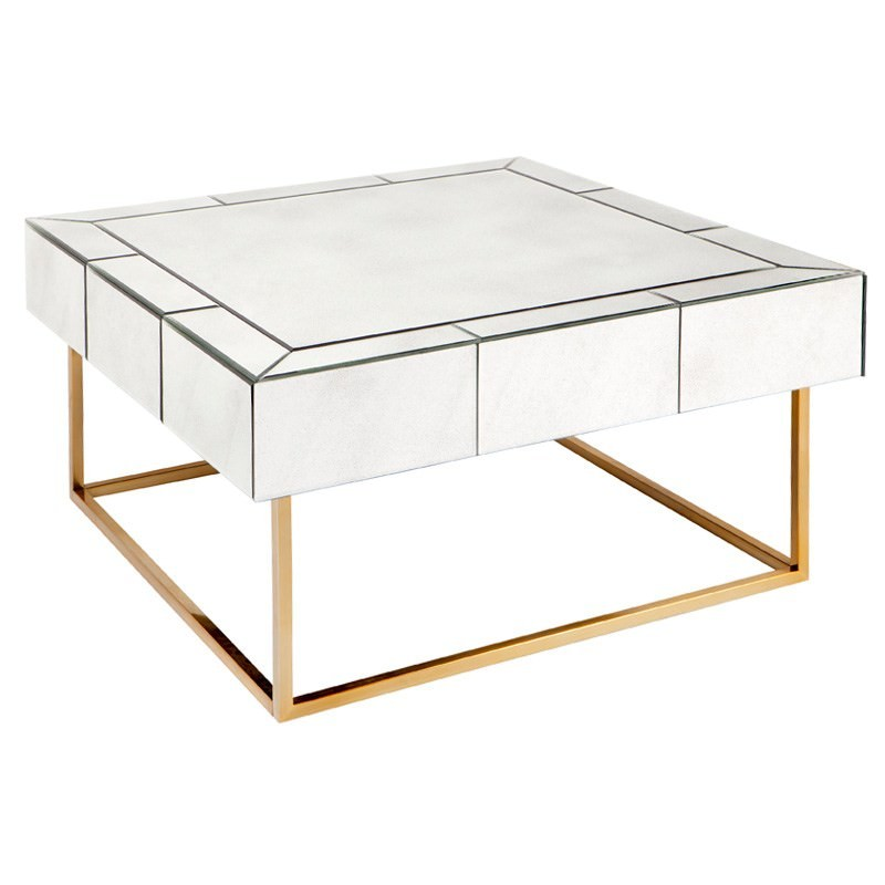 Hudson Mirrored Square Coffee Table, Antique Brass