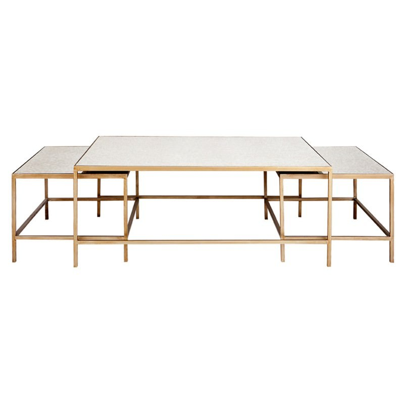 Antique Gold Mirrored Coffee Table: Cocktail 3 Piece Mirrored Top Iron Nested Coffee Table Set