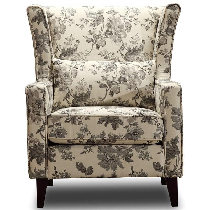 France Floral Print Fabric Armchair