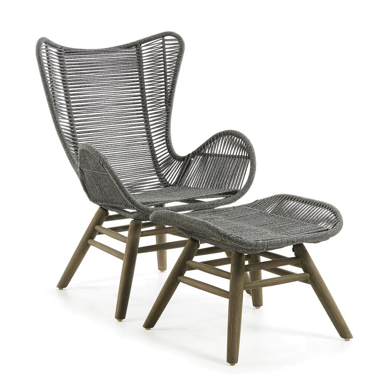 Superb Kamden Rope Eucalyptus Timber Indoor Outdoor Lounge Chair With Foot Stool Grey Pdpeps Interior Chair Design Pdpepsorg