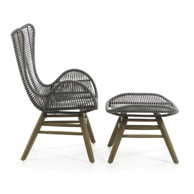 Prime Kamden Rope Eucalyptus Timber Indoor Outdoor Lounge Chair With Foot Stool Grey Pdpeps Interior Chair Design Pdpepsorg