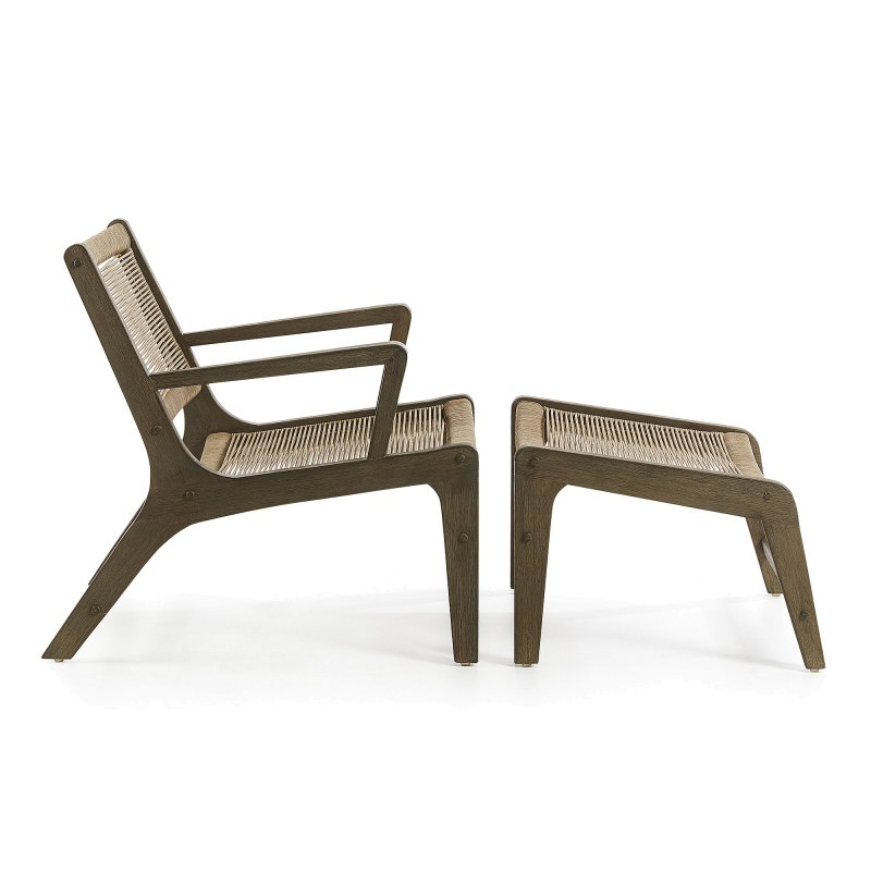 Fantastic Bosley Rope Eucalyptus Timber Indoor Outdoor Lounge Chair With Foot Stool Khaki Pdpeps Interior Chair Design Pdpepsorg
