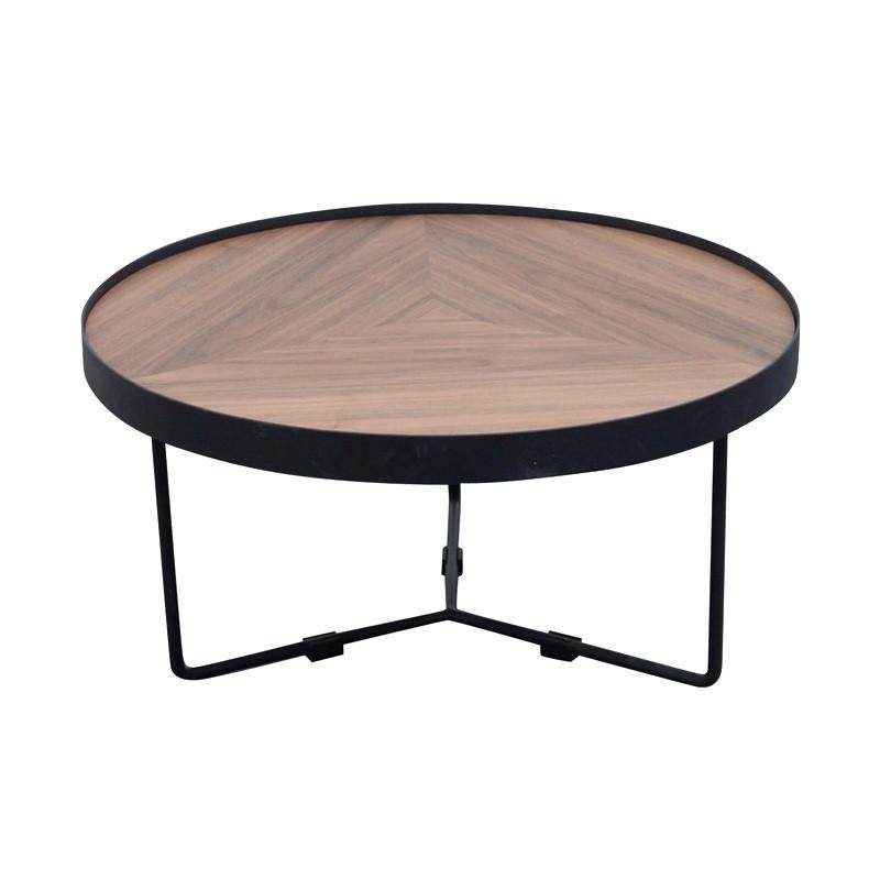Luna Metal Round Nesting Coffee Table, Small, Black / Walnut
