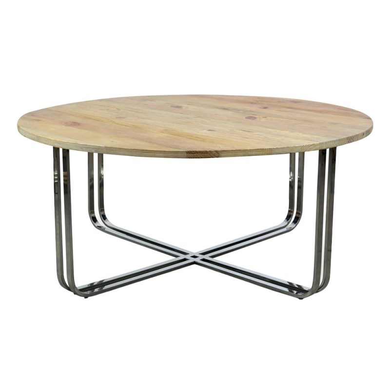 Peachy Colin Reclaimed Elm Timber Stainless Steel Round Coffee Table 100Cm Ncnpc Chair Design For Home Ncnpcorg