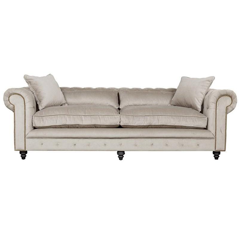 Kensington 3 Seater Fabric Chesterfield Sofa, Grey Velvet
