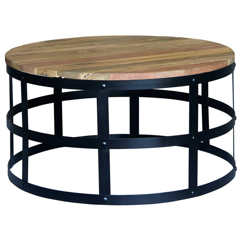 Dabney timber and metal 80cm round coffee table for Coffee table 80cm x 80cm