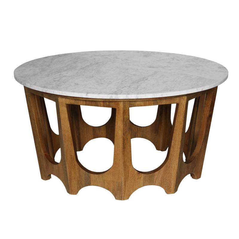 Cancun Marble & Mango Wood Round Coffee Table, 90cm