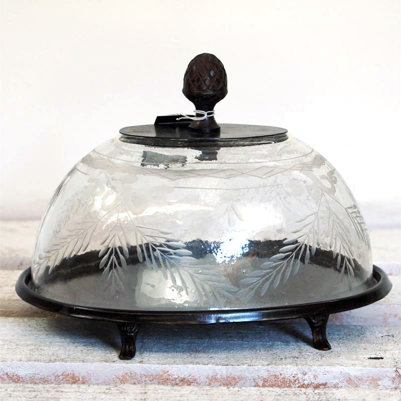 Alma Rustic Metal Cake Stand With Glass Dome