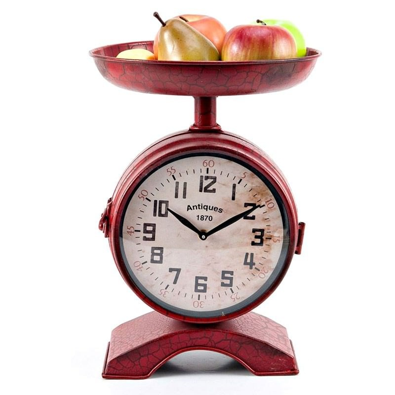 Danvers Red Scale Shaped 2 Sided Metal Clock 37cm