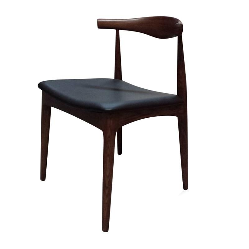Replica Hans Wegner Elbow Chair With Pu Seat Walnut Black