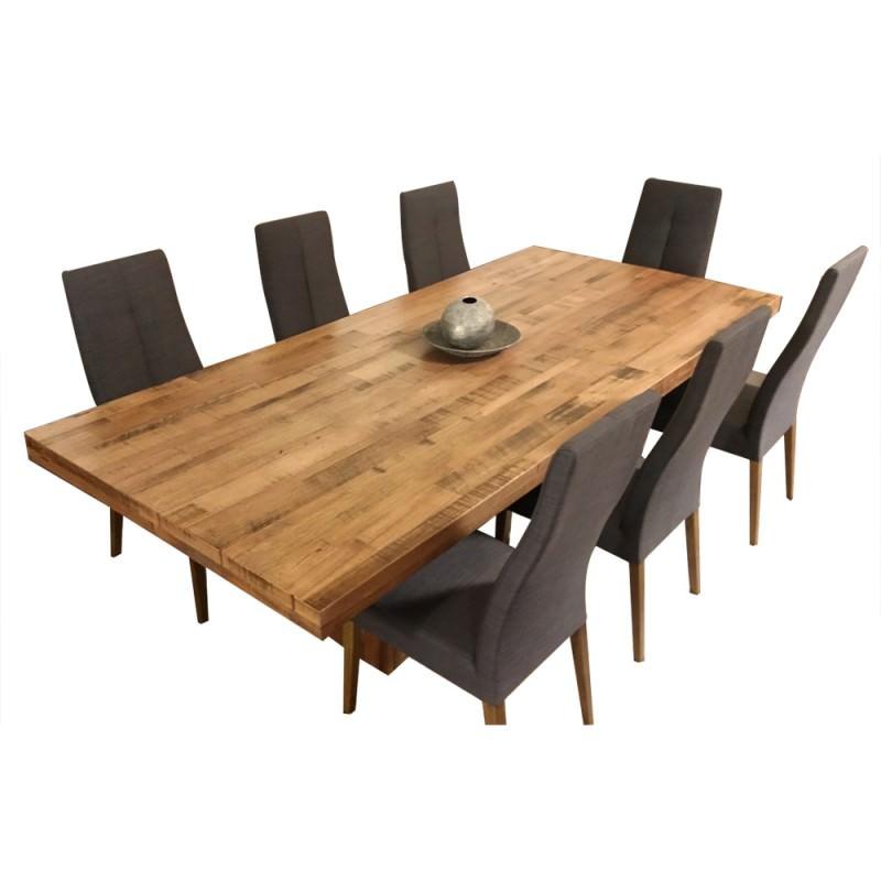 Rawson 9 Piece Tasmania Oak Timber Dining Table Set 240cm