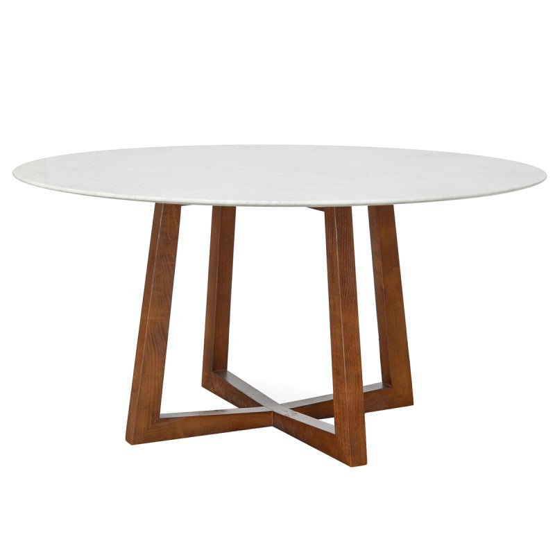 Zed Marble Top Timber Round Dining Table 150cm White