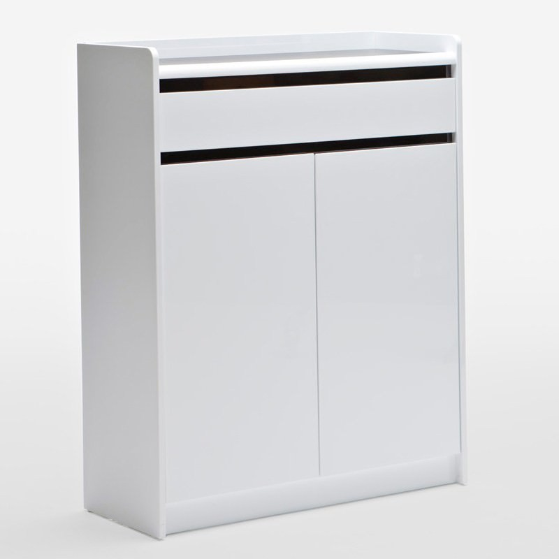 A15 White Shoe Cabinet With 2 Doors 1 Drawer 100cm