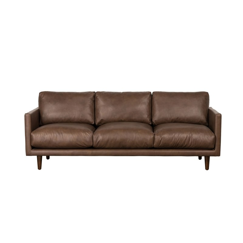 Carson Italian Leather Sofa, 3 Seater, Brown