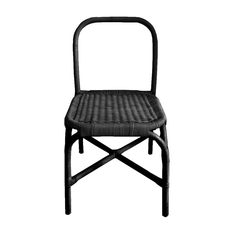 Juno Rattan Dining Chair, Black