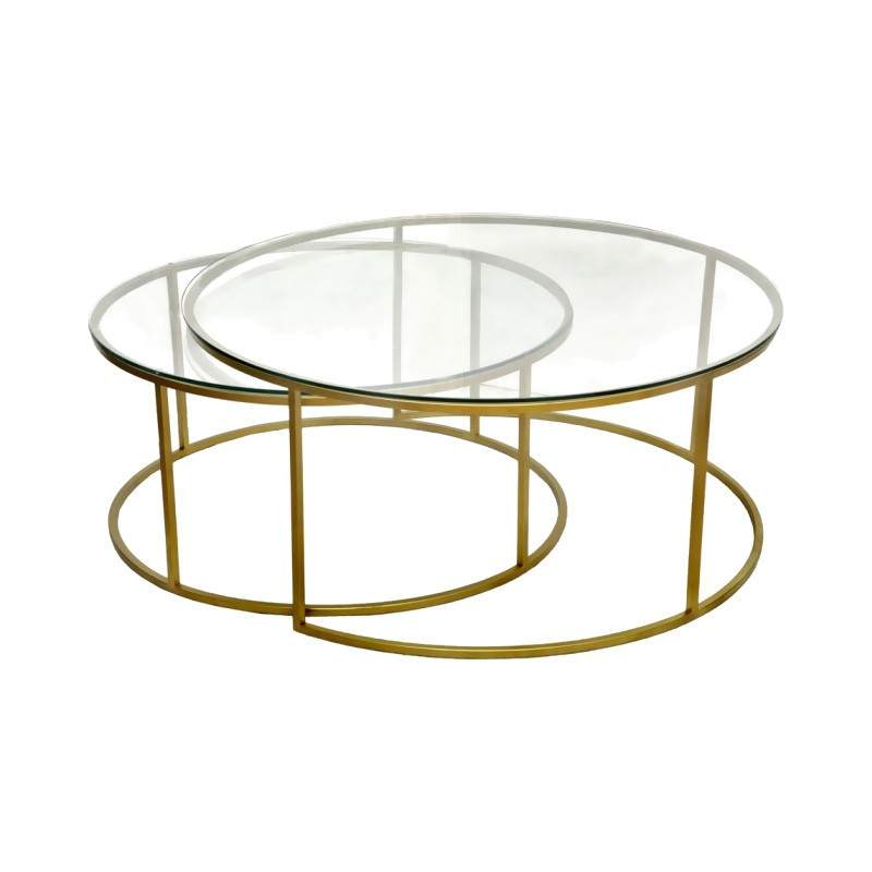 Gold Metal Round Coffee Table.Wareley 2 Piece Glass Top Metal Round Nesting Coffee Table Set Gold